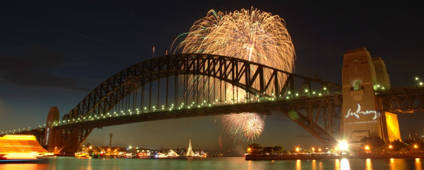 New Years Eve fireworks at the Harbour Bridge, Sydney