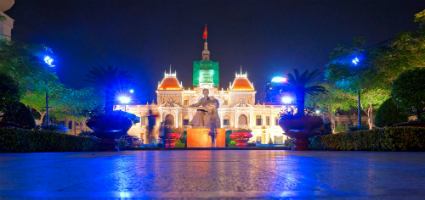 Ho Chi Minh town hall at night, Vietnam