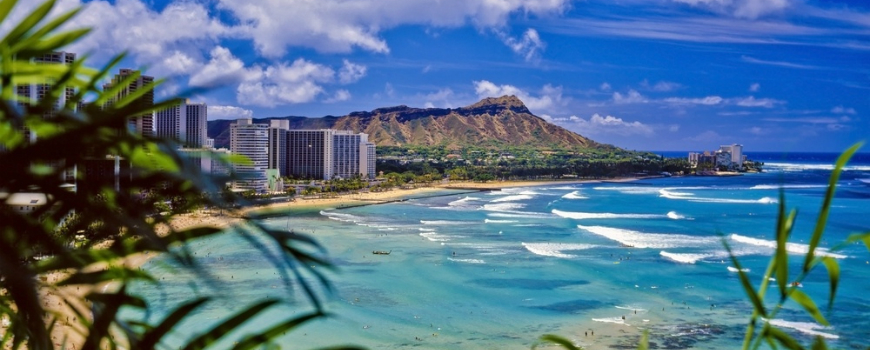 Honolulu city along the coast of Hawaii