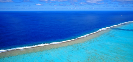 Crystal clear deep blue and aqua water, New Caledonia