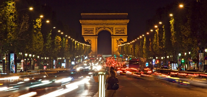 Arc de Triomphe at nightime, Paris
