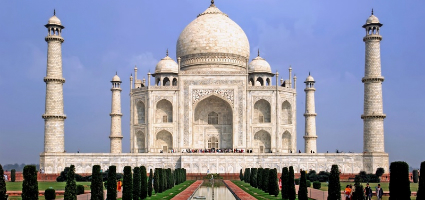 Taj Mahal the white marble palace, India