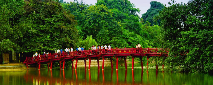 The Huc Bridge over Hoàn Kiếm lake, Vietnam